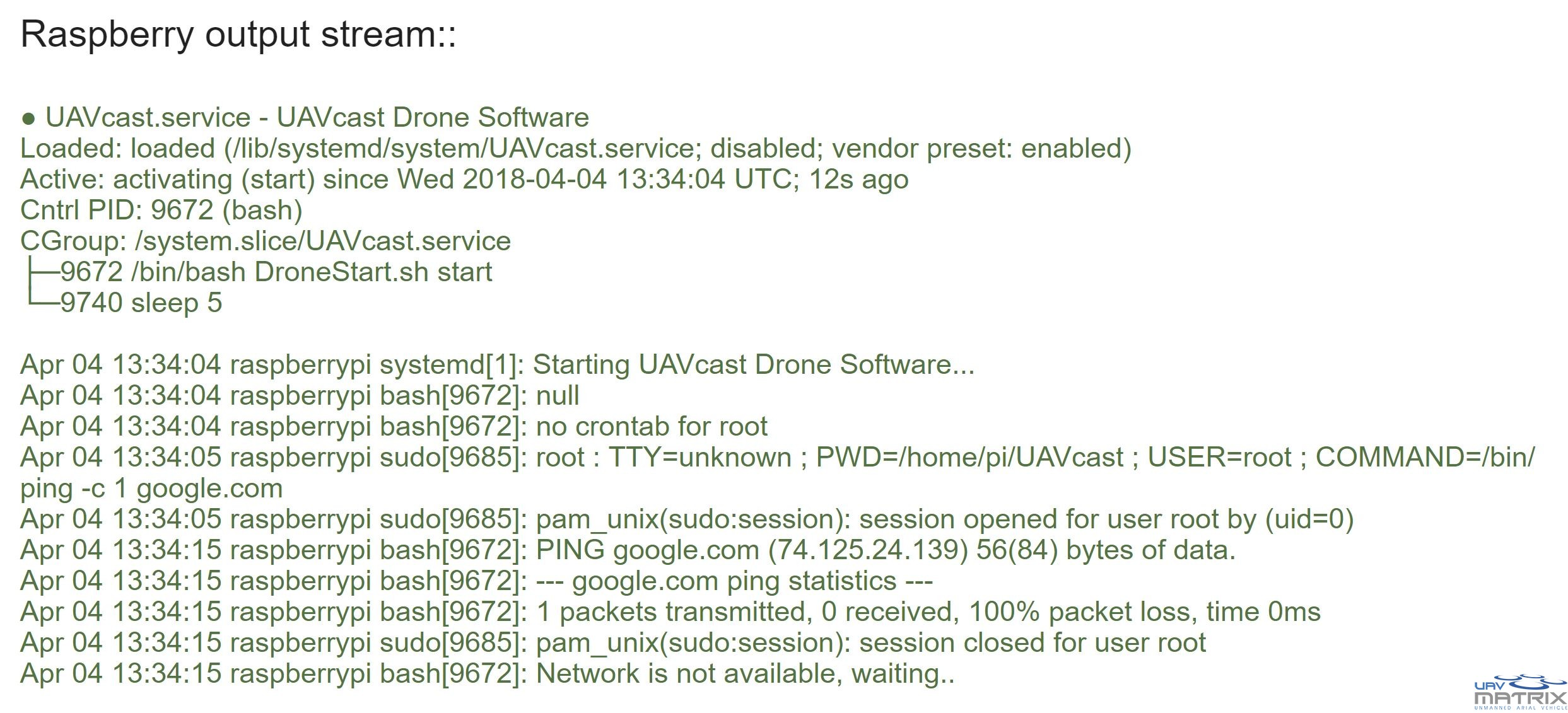 UAVcast  Software for Companion Computer based UAV`s - UAV matrix